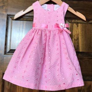 Girls 18 mos sleeveless pink and white plaid dress
